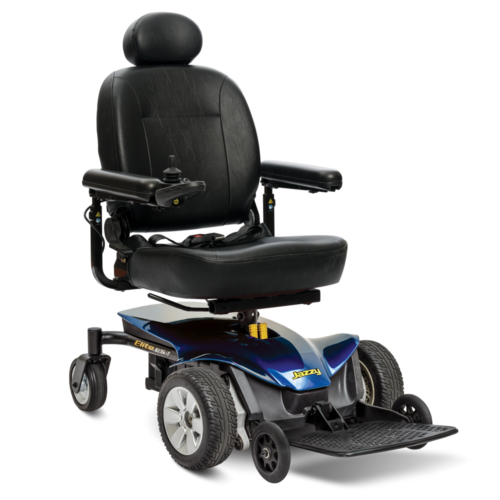 A Picture of the Jazzy Elite Power Wheelchair in Dark Blue